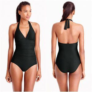 J.Crew Ruched Halter One-Piece Swimsuit Black NWT